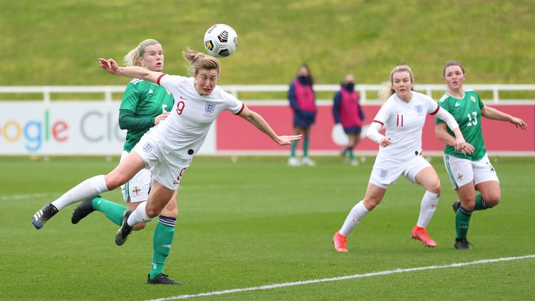 White gets in front of her marker to double England's lead in the first half
