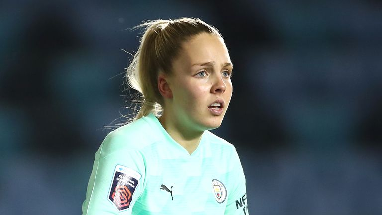 Ellie Roebuck is the most experienced of the three young goalkeepers, with five caps to her name