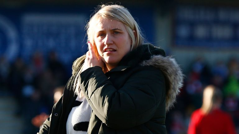 Chelsea Ladies Head Coach Emma Hayes during Barclays Women's Super League match between Arsenal Women and Chelsea Women (Photo by AFS/Espa-Images)(Credit Image: © ESPA Photo Agency/CSM via ZUMA Wire) (Cal Sport Media via AP Images)