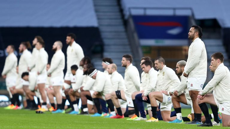 12 England players took a knee ahead of their Six Nations match against Scotland