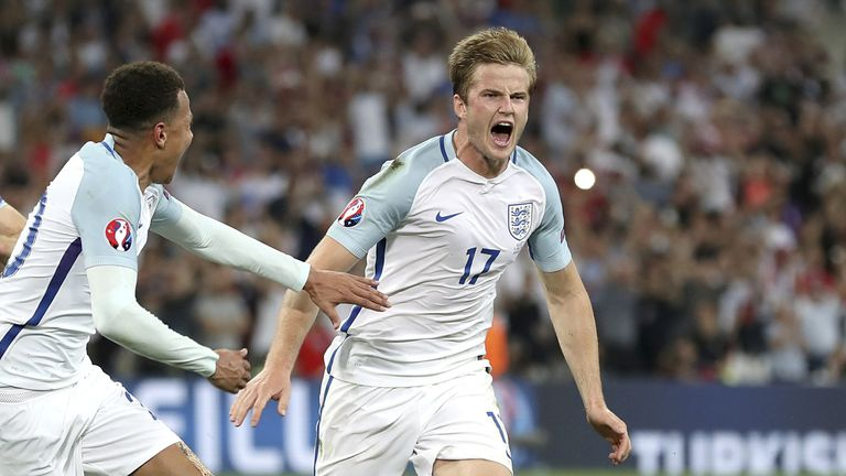 England's Eric Dier (centre) celebrates scoring their first goal of the game during the UEFA Euro 2016, Group B match at the Stade Velodrome, Marseille. PRESS ASSOCIATION Photo. Picture date: Saturday June 11, 2016. See PA story SOCCER England. Photo credit should read: Owen Humphreys/PA Wire. RESTRICTIONS: Use subject to restrictions. Editorial use only. Book and magazine sales permitted providing not solely devoted to any one team/player/match. No commercial use. Call +44 (0)1158 447447 for further information.