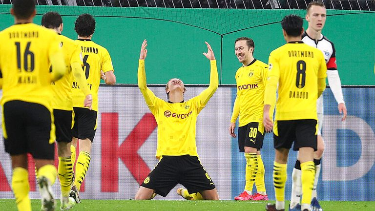 Erling Haaland capped a dramatic night for Borussia Dortmund against Paderborn