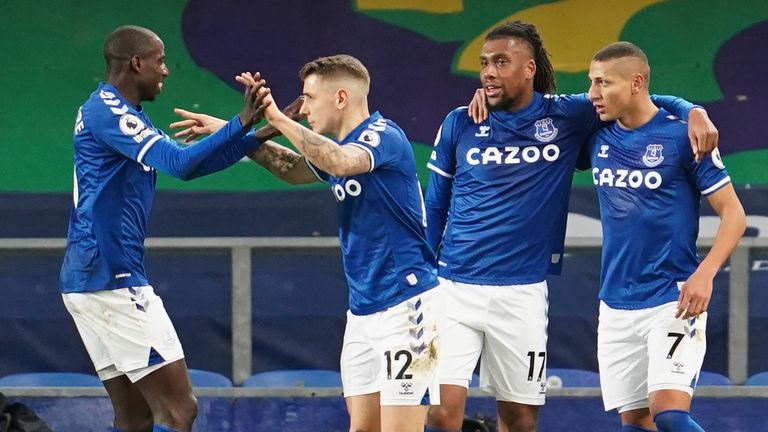 Richarlison is congratulated after hauling Everton level in the first half
