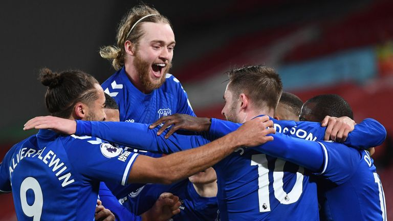 Everton moved level on points with Liverpool following the derby success