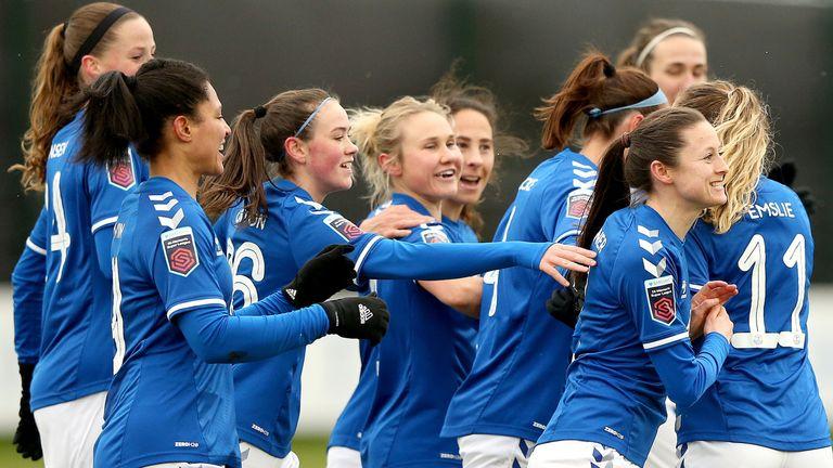 Danielle Turner (centre) scored for Everton against Birmingham