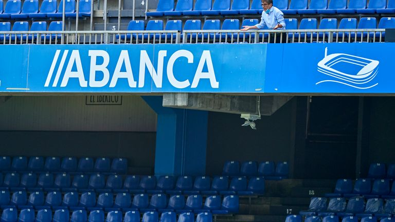 Fernando Vazquez, the manager of Deportivo de La Coruna gives his team instructions from the stands during the La Liga Smartbank match between RC Deportivo and Extremadura UD at Estadio Abanca Riazor on July 12, 2020 in La Coruna, Spain