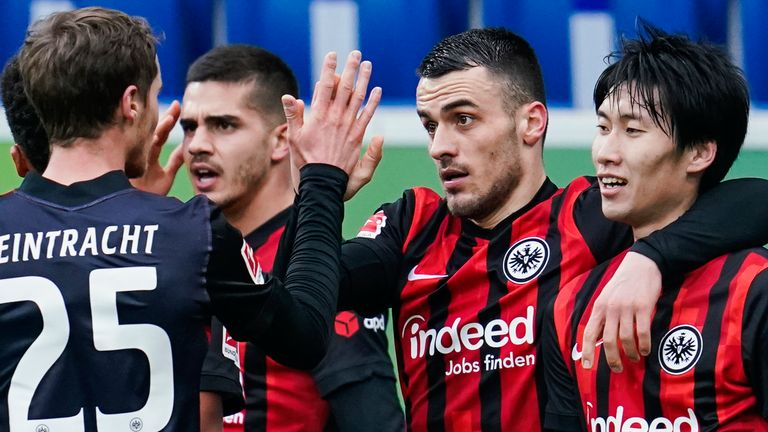 Filip Kostic (second right) helped Eintracht Frankfurt to victory