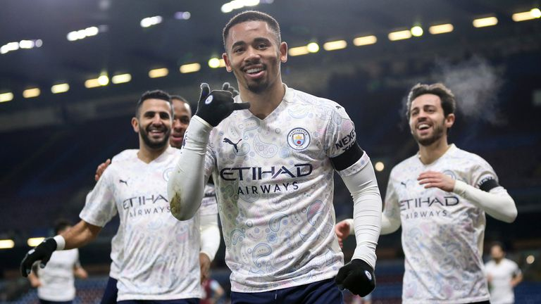 Gabriel Jesus of Manchester City celebrates scoring his sides opening goal (Barry Coombs/Sportimage)