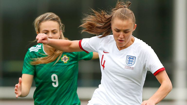 Georgia Stanway in action for England Women against Northern Ireland Women