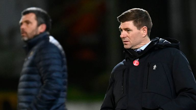 PERTH, SCOTLAND - DECEMBER 23: Rangers manager Steven Gerrard during a Scottish Premiership match between St Johnstone and Rangers at McDiarmid Park, on December 23, 2020, in Perth, Scotland. (Photo by Rob Casey / SNS Group)