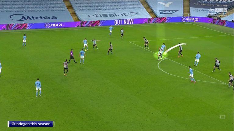 Gundogan makes a run in behind Newcastle's defence