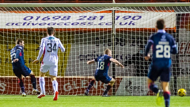 Stephen Kelly inadvertently diverts a low cross into his own net at Hamilton