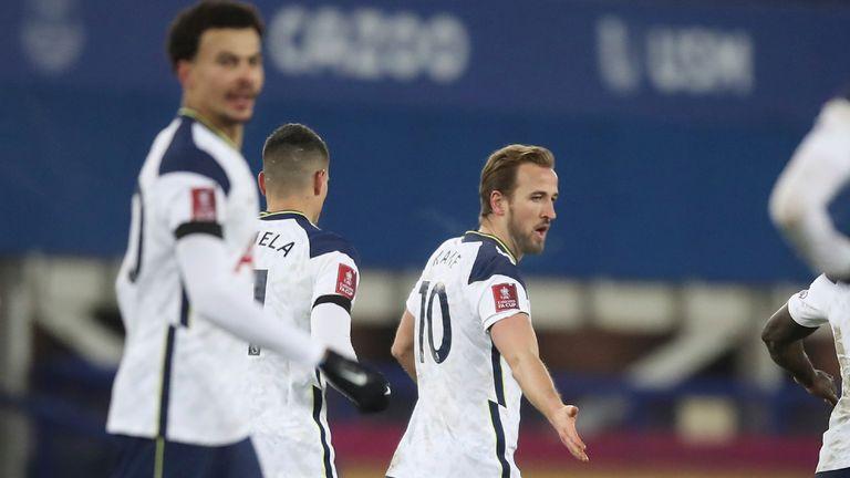 Harry Kane celebrates scoring Tottenham's fourth goal to equalise against Everton