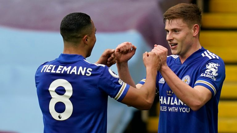 Harvey Barnes celebrates  with Youri Tielemans after doubling Leicester's lead