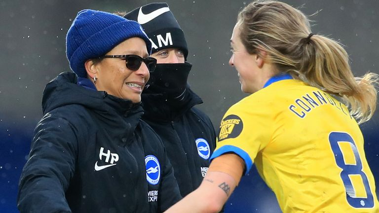 Brighton Women's boss Hope Powell celebrates her side's victory at Chelsea (PA image)