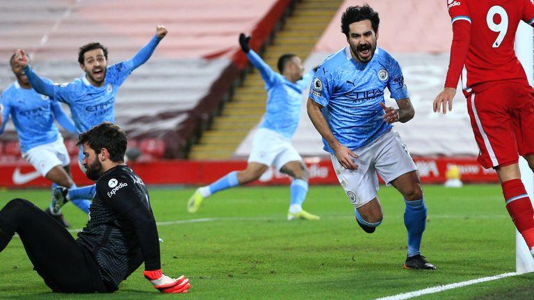 Ilkay Gundogan wheels away after restoring Man City's lead at Anfield