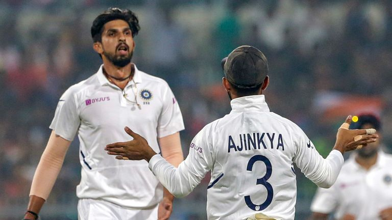 India's Ishant Sharma celebrates a Bangladesh wicket with team-mate Ajinkya Rahane during the Kolkata day-night Test in 2019