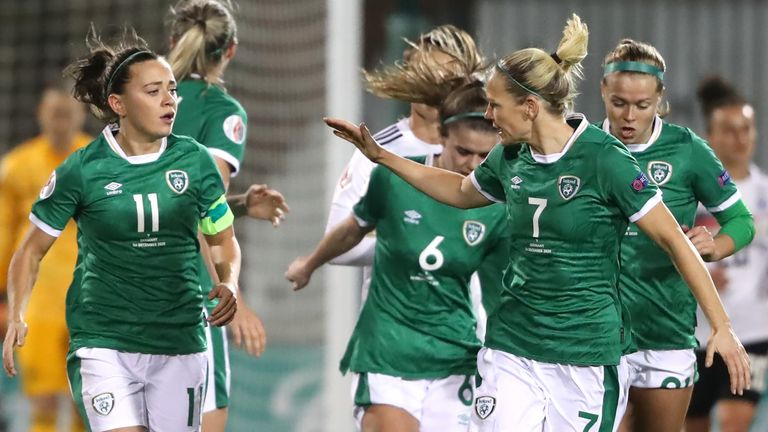 Katie McCabe (left) celebrates scoring her side's first goal of the game during the UEFA Women's Euro 2021 Qualifying Group I match at the Tallaght Stadium, Dublin, Ireland.