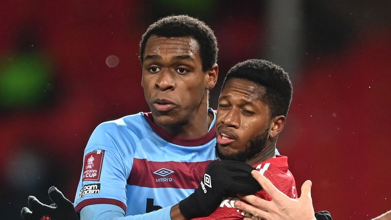 Issa Diop was allowed to play on despite being involved a clash of heads during the FA Cup tie at Manchester United