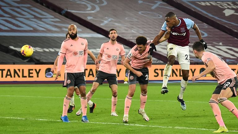 Issa Diop doubles West Ham's lead with a well-directed header