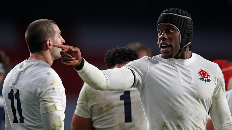 Maro Itoje charged down two kicks in the early stages