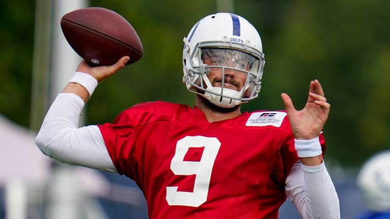 Colts quarterback Eason practices during August's training camp (AP Photo/Michael Conroy)