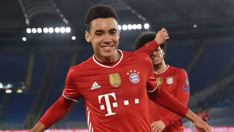 Jamal Musiala of Bayern Munich celebrates after scoring their side's second goal against Lazio during the UEFA Champions League Round of 16 match at the Olimpico Stadium on February 23, 2021 in Rome, Italy