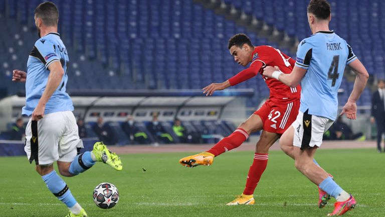 Jamal Musiala scores for Bayern Munich against Lazio during the UEFA Champions League round of 16 match at Olimpico Stadium on February 23, 2021 in Rome, Italy.