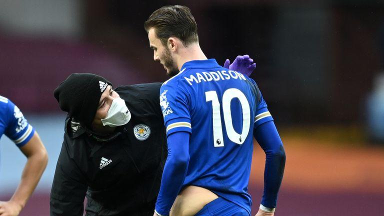 James Maddison injured his hip playing against Aston Villa on Sunday