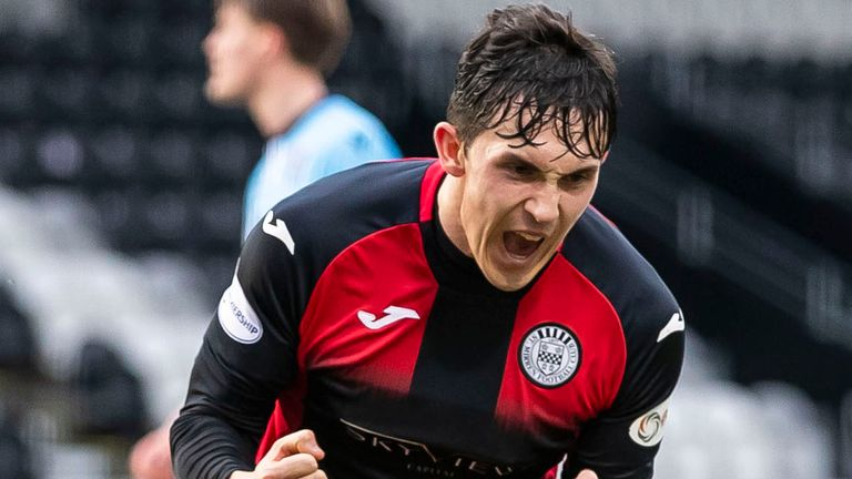 Jamie McGrath celebrates his match-winning penalty for St Mirren