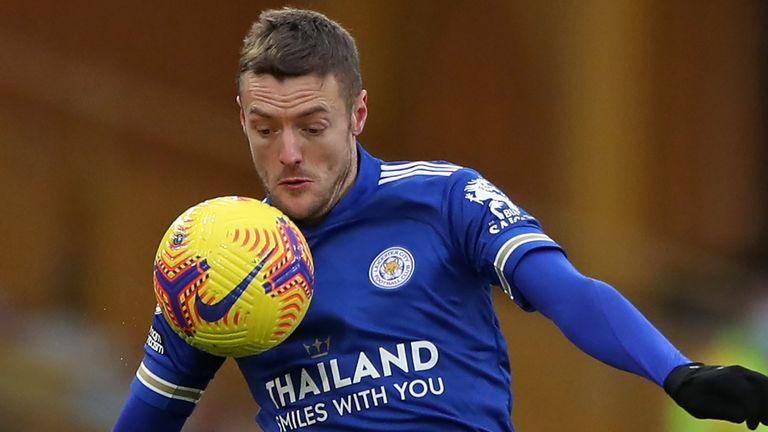 Jamie Vardy controls the ball after being introduced as a substitute