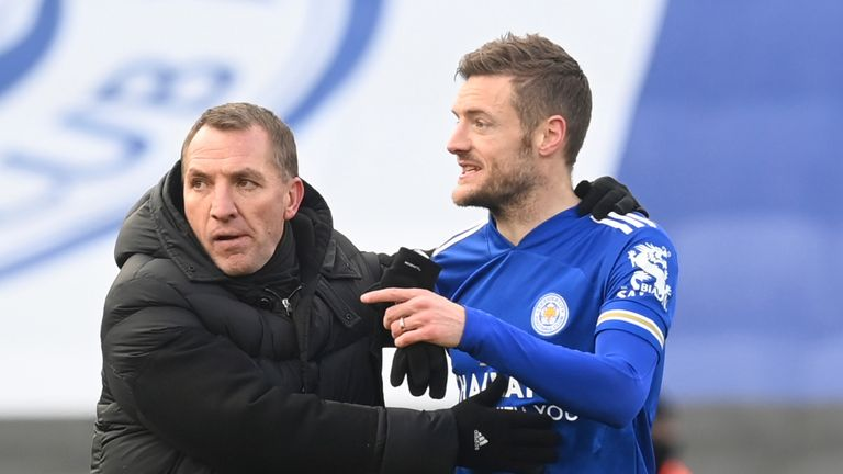 Brendan Rodgers and Jamie Vardy celebrate Leicester's win at full-time
