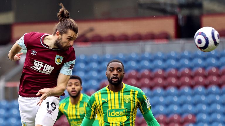 Burnley's Jay Rodriguez heads at goal against West Brom