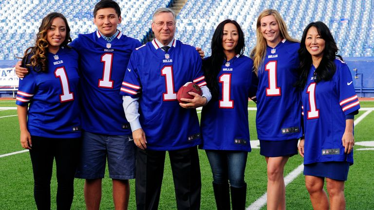 Jessica Pegula (far left) is joined by her family on the field of Bills stadium