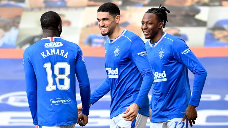 Rangers' Joe Aribo (right) celebrates his goal with Leon Balogun against Dundee United