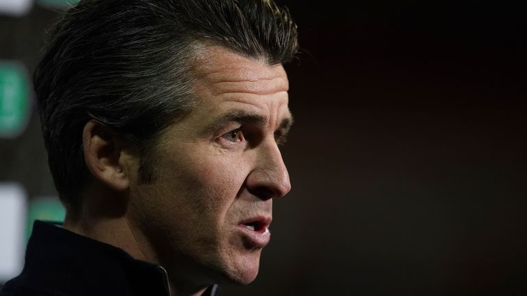 Fleetwood Town's manager Joey Barton talks to the media after the English League Cup third round soccer match between Fleetwood Town and Everton