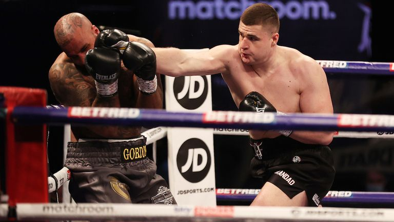 HANDOUT PICTURE COMPLIMENTS OF MATCHROOM BOXING.Johnny Fisher vs Matt Gordan, Heavyweight Contest..20 February 2021.Picture By Mark Robinson.Johnny Fisher knocks down Matt Gordan in the 1st round.