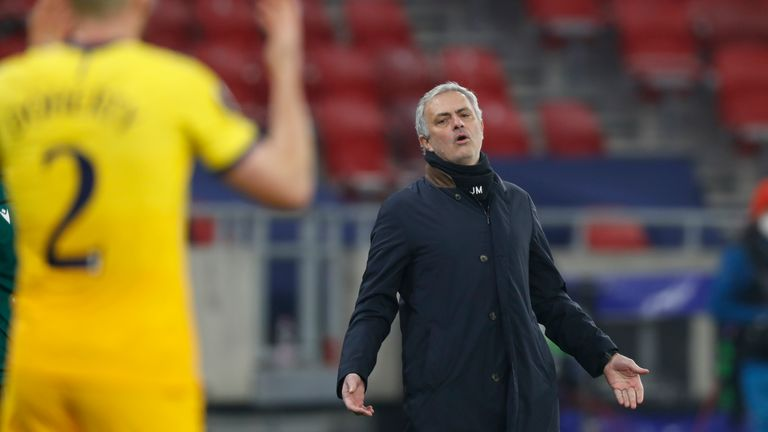 Jose Mourinho watches on from the Puskas Arena on Thursday