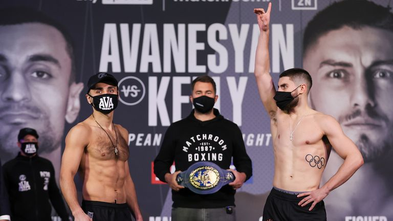 HANDOUT PICTURE COMPLIMENTS OF MATCHROOM BOXING.David Avanesyan and Josh Kelly Weigh In ahead of their European Welterweight  Title fight on saturday..19 February 2021.Picture By Mark Robinson