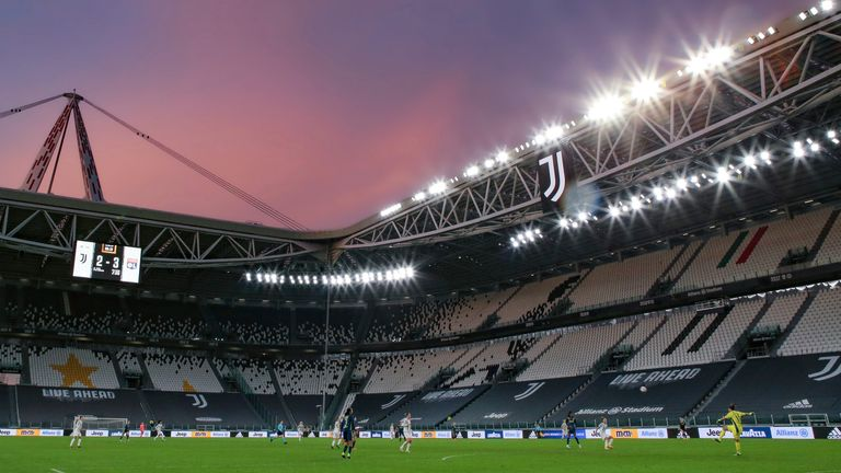 December 9, 2020, Turin, United Kingdom: Sarah Bouhaddi of Lyon plays the ball in this general view at sunset during the UEFA Womens Champions League match at Juventus Stadium, Turin. Picture date: 9th December 2020. Picture credit should read: Jonathan Moscrop/Sportimage(Credit Image: © Jonathan Moscrop/CSM via ZUMA Wire) (Cal Sport Media via AP Images)
