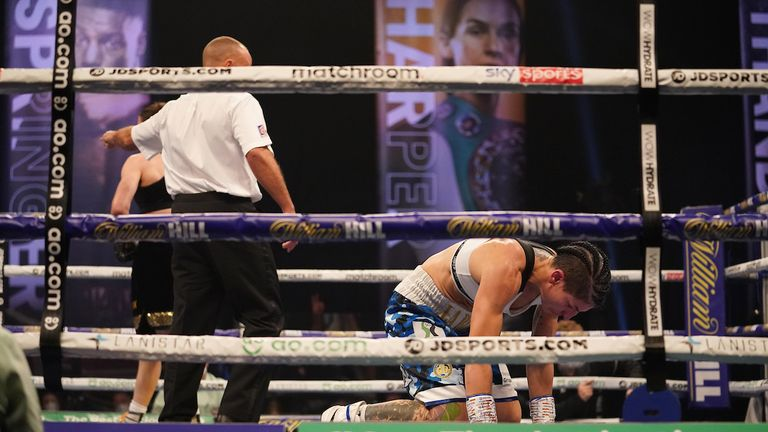 HANDOUT PICTURE COMPLIMENTS OF MATCHROOM BOXING.Katie Taylor vs Miriam Gutierrez, WBC, WBA, IBF and WBO Lightweight World Title..14 November 2020.Picture By Dave Thompson.Gutierrez  knocked down in the 4th round.