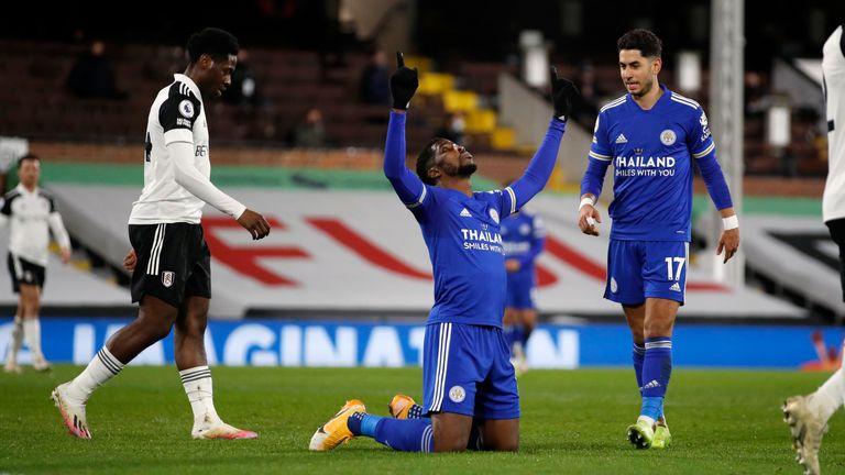 Kelechi Iheanacho celebrates after scoring the opening goal (AP)