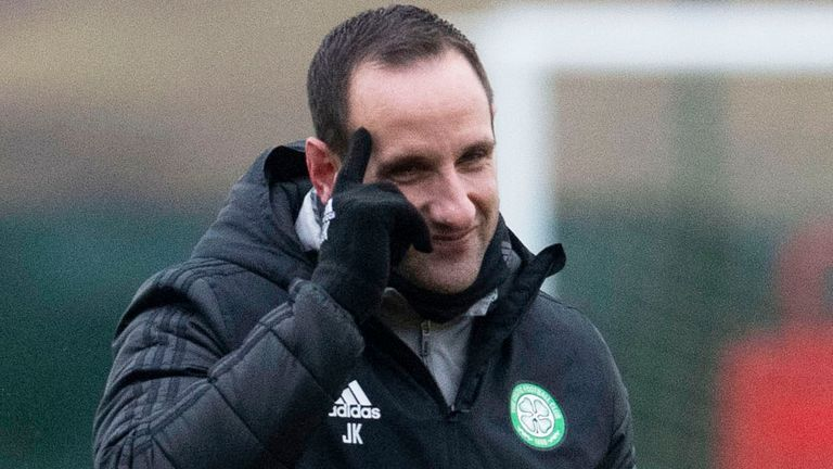 LENNOXTOWN, SCOTLAND - FEBRUARY 19: Assistant manager John Kennedy during a Celtic training session at Lennoxtown, on February 19, 2021, in Lennoxtown, Scotland. (Photo by Craig Foy / SNS Group)
