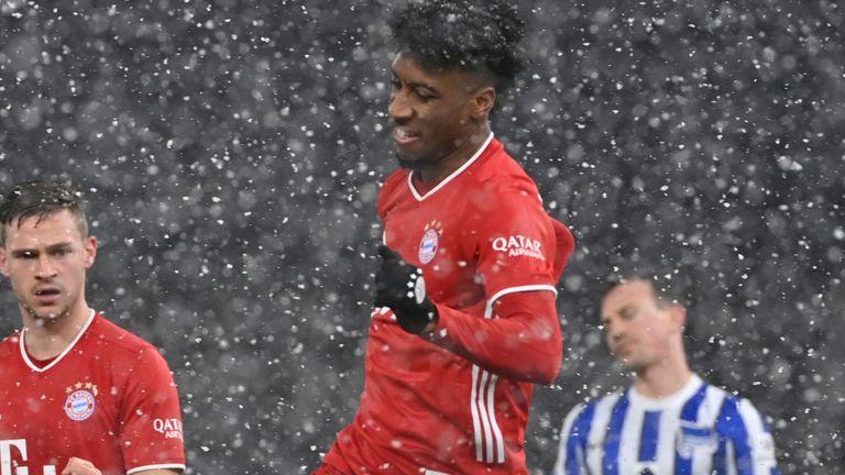Kingsley Coman celebrates his Bayern Munich goal