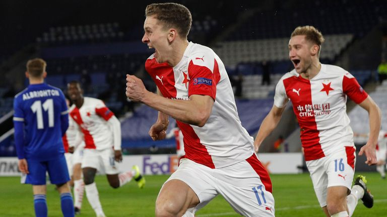February 25, 2021, Leicester, United Kingdom: Lukas Provod of Slavia Prague shouts out after scoring the first goalduring the UEFA Europa League match at the King Power Stadium, Leicester. Picture date: 25th February 2021. Picture credit should read: Darren Staples/Sportimage d(Credit Image: © Darren Staples/CSM via ZUMA Wire) (Cal Sport Media via AP Images)