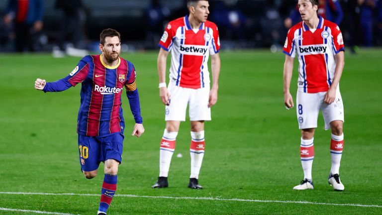 Lionel Messi scored twice for Barcelona against Alaves