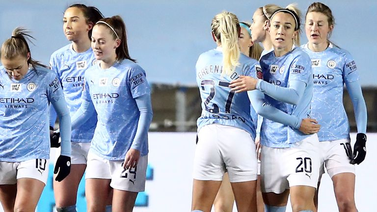 Manchester City celebrate Lucy Bronze's opening goal against Manchester United