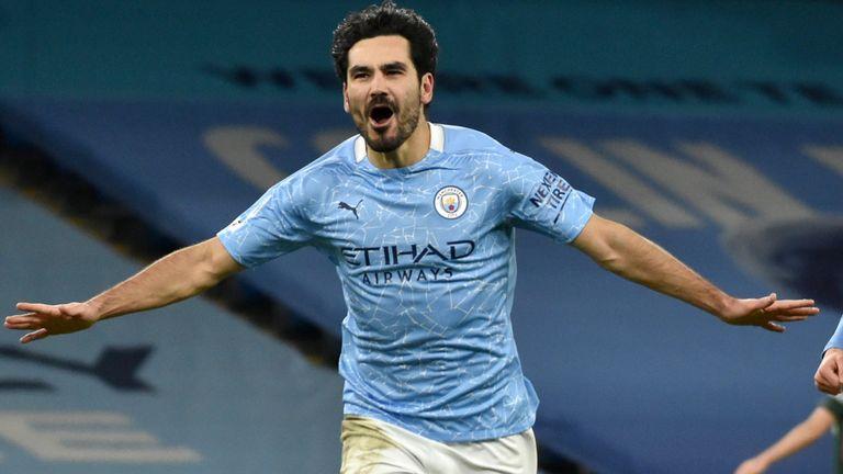 Ilkay Gundogan celebra su segundo gol del Manchester City ante el Tottenham