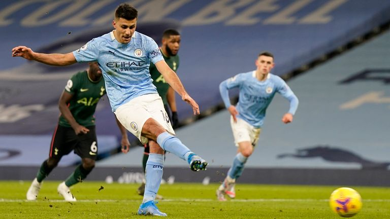 Rodri makes no mistake from the penalty spot but it wasn't convincing