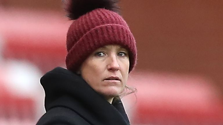 Manchester United head coach Casey Stoney at Leigh Sports Village